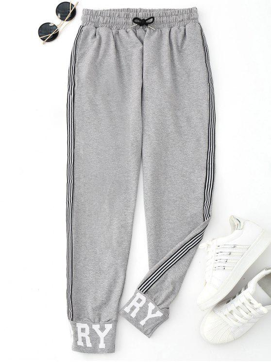 Graphic Drawstring Sporty Jogger Pants - Gris M