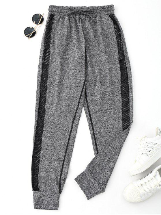 ladies Drawstring Mesh Sporty Jogger Pants - GRAY L