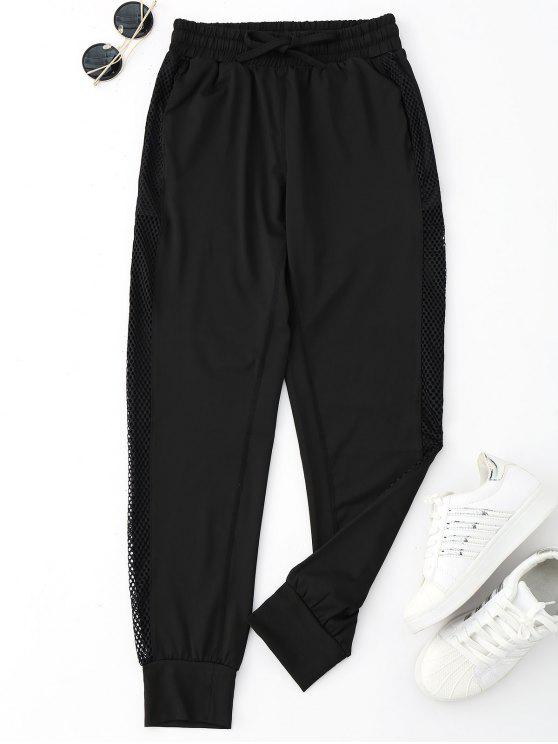 fashion Drawstring Mesh Sporty Jogger Pants - BLACK S