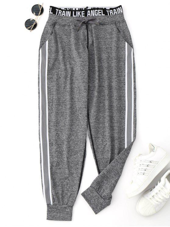 buy Drawstring Graphic Yoga Jogger Pants - GRAY M