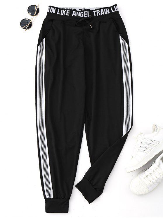Pantalones de chándal con cordón gráfico de yoga - Negro L