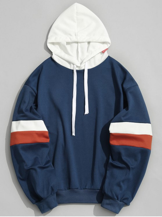 buy Pockets Color Block Hoodie Men Clothes - BLUE L
