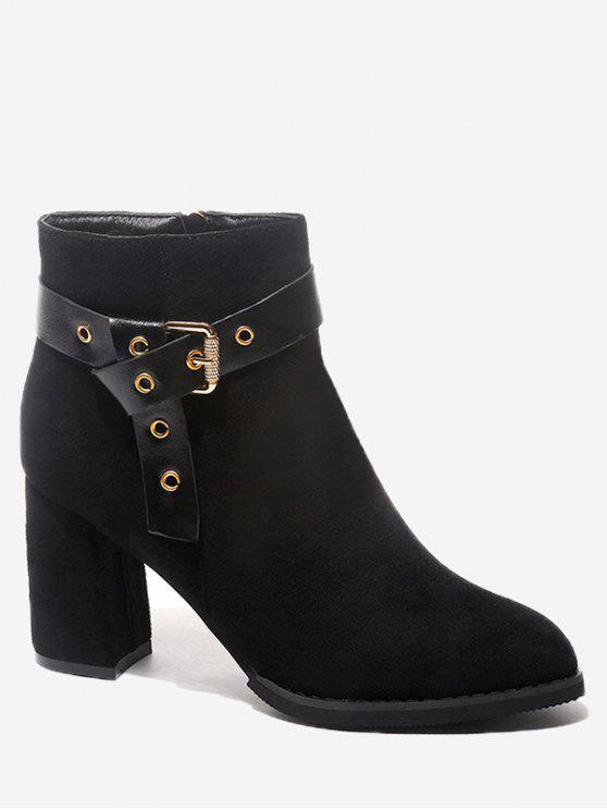 ladies Buckle Strap Accent Chunky Heel Ankle Boots - BLACK 37