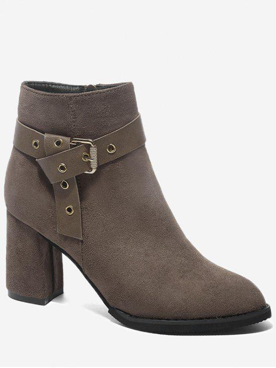 lady Buckle Strap Accent Chunky Heel Ankle Boots - KHAKI 36