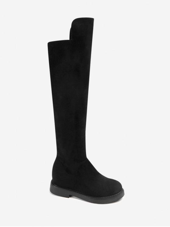 chic Side Zipper Low Heel Knee High Boots - BLACK 36