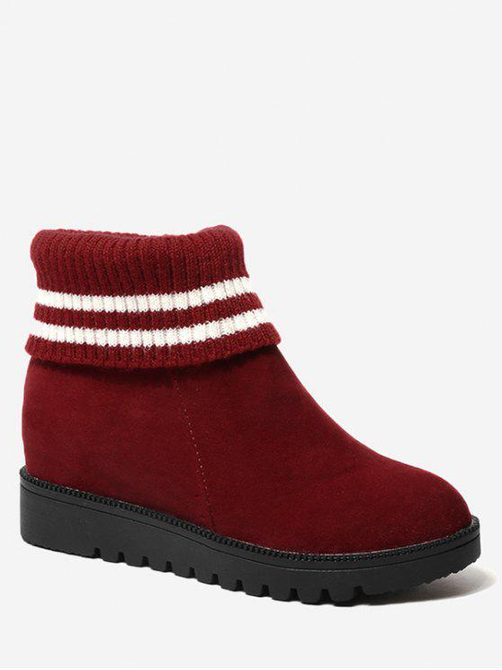 best Contrasting Color Striped Short Boots - RED 39