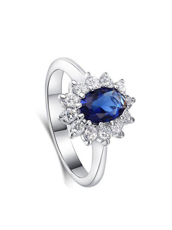 خمر الكريستال مزين الاصطناعية الياقوت خاتم الزواج - أزرق 6