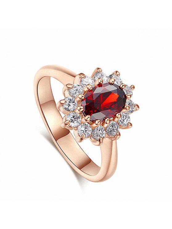 خمر الكريستال مزين الاصطناعية الياقوت خاتم الزواج - أحمر 7