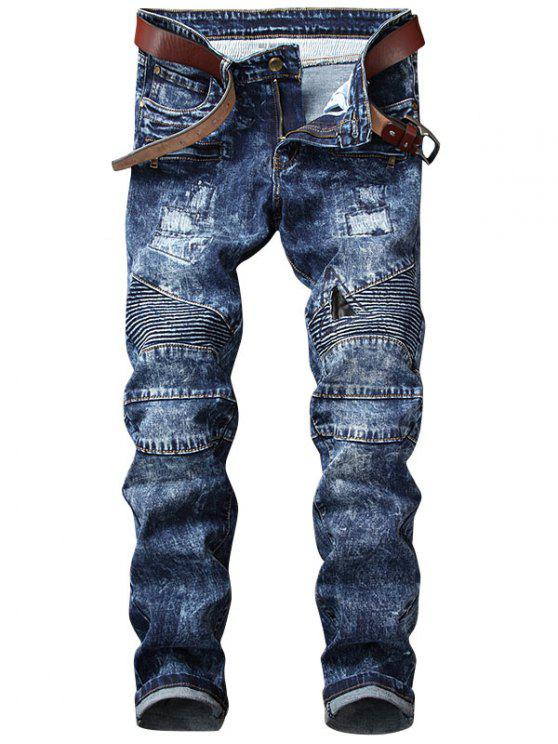 women Snow Wash Straight Leg Biker Jeans - BLUE 38