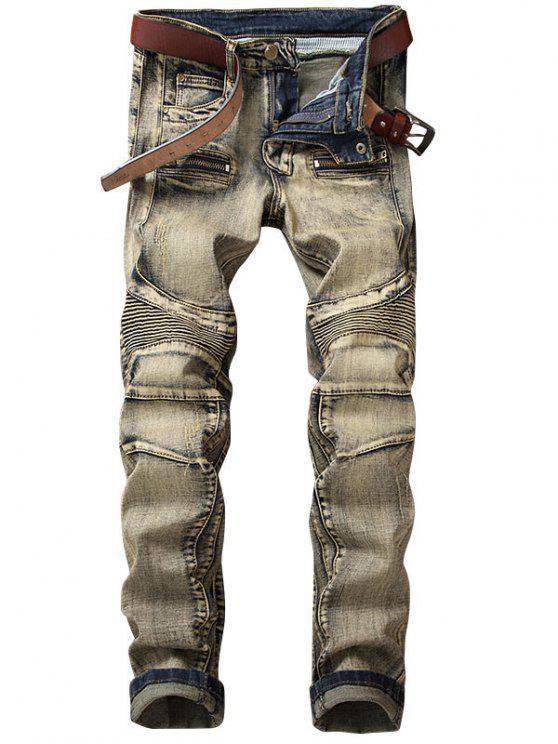 Jeans Da Motociclista Vintage Con Cerniera Diritti - Giallo Chiaro 30