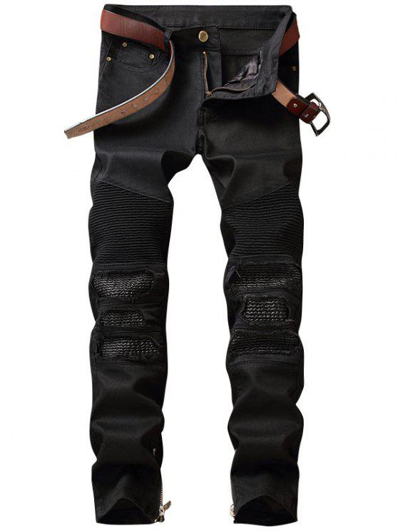 women Zipper Hem PU Insert Biker Jeans - BLACK 30