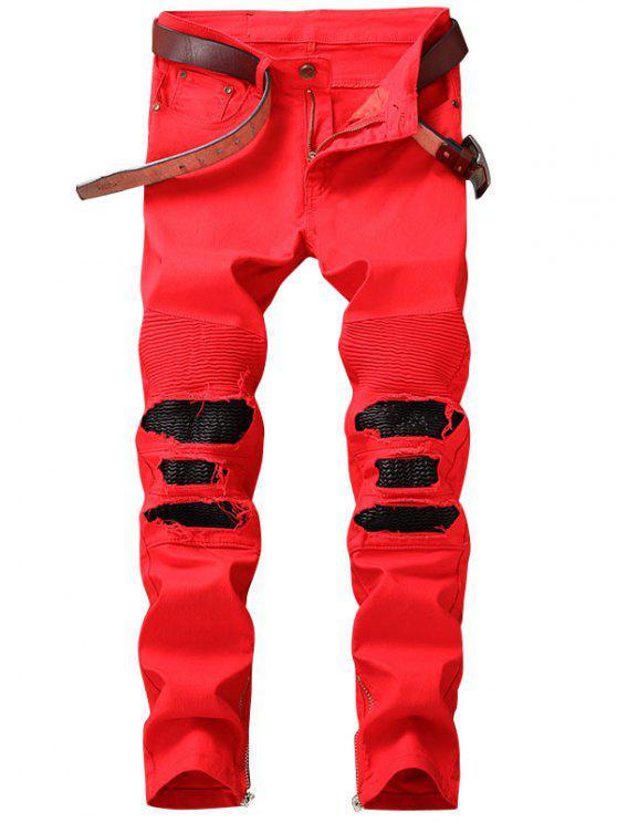 Zipper Hem PU Insert Biker Jeans - Vermelho 34