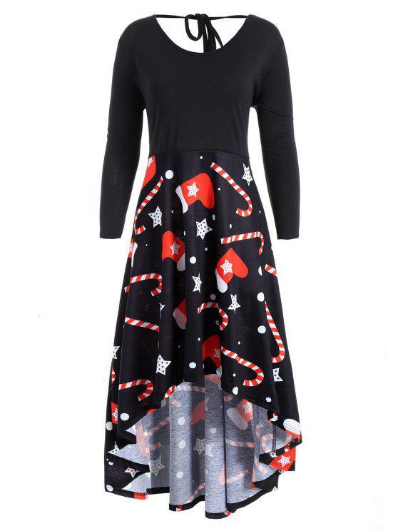 baaa0224b93 2018 Plus Size Christmas Print High Low Dress In BLACK 2XL