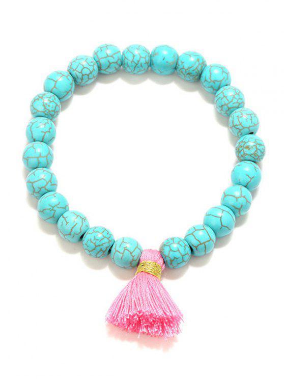 Bracciali elasticizzati con perle di nappa - RAL5018 Blu Turchese