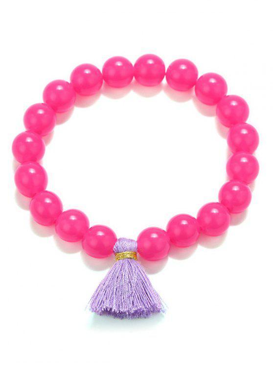Tassel Bead Stretch Bracelets - Rosa Roja