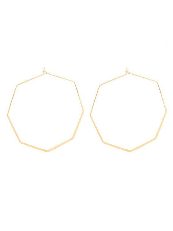 womens Geometric Metal Hoop Earrings - GOLDEN
