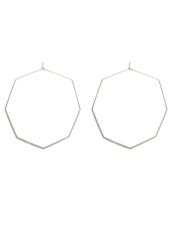 women Geometric Metal Hoop Earrings - SILVER