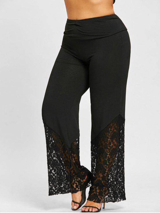 metà fuori 897d1 c303f Pantaloni Larghi Plus Size Con Pannello In Pizzo CONCORD DARK HEATHER GRAY  BLACK DEEP BLUE BORDEAUX