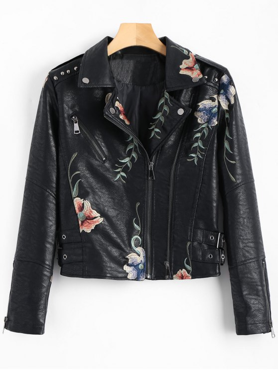 chic Floral Patched Rivet Faux Leather Jacket - BLACK M