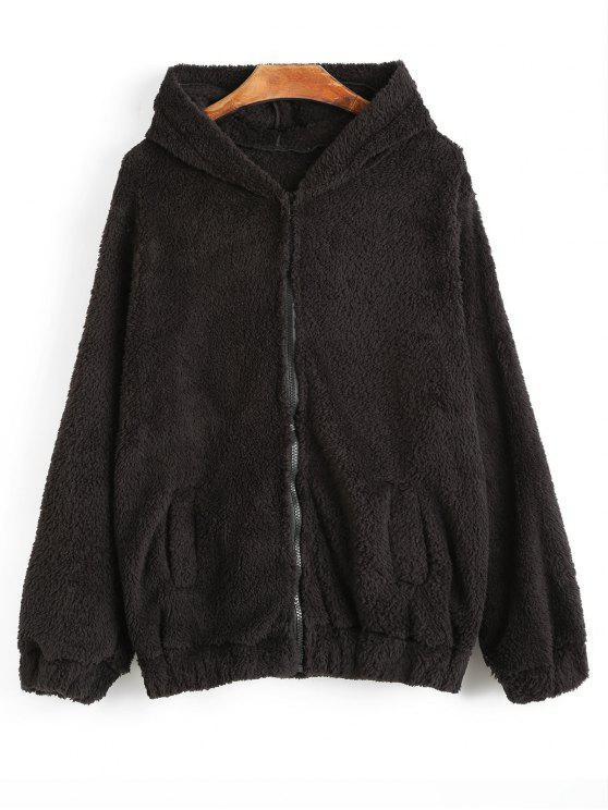 Manteau à Capuche Ours Duveteux - Noir Taille Unique