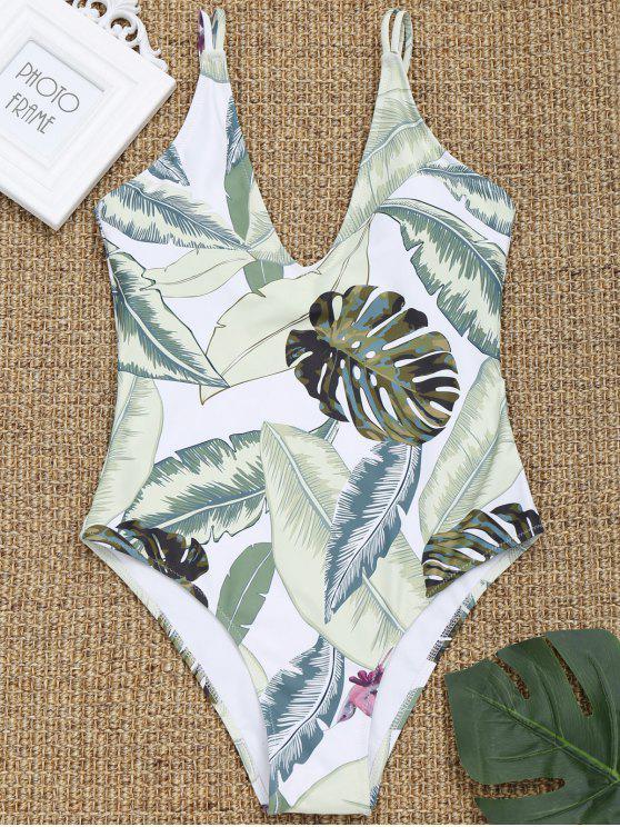 new Cami Leaf Print High Cut Swimwear - WHITE M
