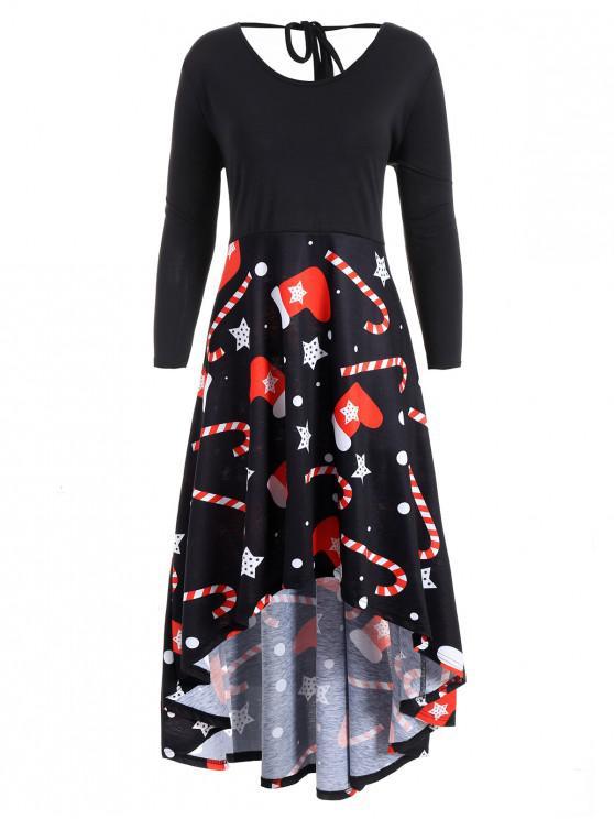 chic Plus Size Christmas Print High Low Dress - BLACK XL