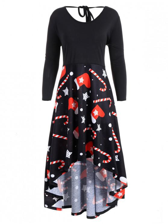 Plus Size Christmas Print High Low Dress BLACK
