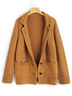 Ribbed Panel Button Up Cardigan - Light Brown L