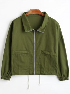 Zip Up Short Shirt Jacket - Army Green L
