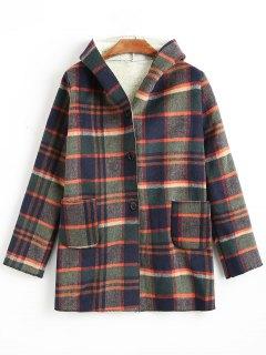 Botón Para Arriba Espesar Abrigo De Tela Escocesa Con Capucha - M