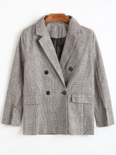 Double Breasted Houndstooth Blazer With Pockets - S