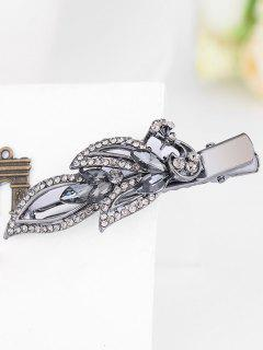 Incrustation De Strass Faux Gem Barrette - Gris