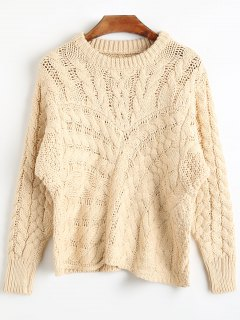 Round Neck Cable Knit Chunky Sweater - Beige