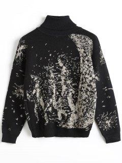 Golden Thread Insert Mock Neck Sweater - Black