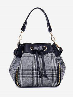 String Plaid Handbag With Strap - Gray
