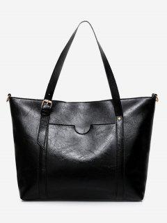 Stud Buckle Strap Shoulder Bag - Black
