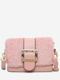 Splicing Buckle Strap Crossbody Bag - Pink