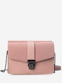 Chain Faux Leather Double Side Crossbody Bag - Pink