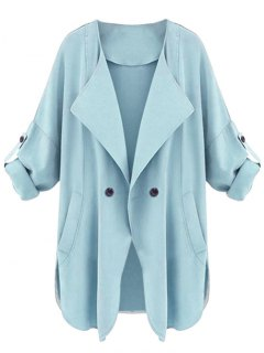Side Slit One Button Trench Coat - Light Blue M