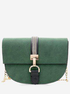 Chain Metal Embellished Crossbody Bag - Green