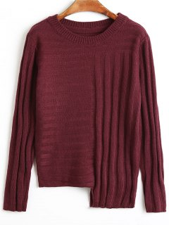 Stripy Asymmetrical Sweater - Wine Red