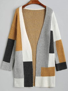 Contrast Open Cardigan With Pockets - Multi S