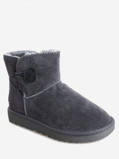 Fur Button Snow Boots - Gray 40