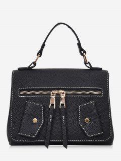 Faux Leather Front Zip Handbag - Black