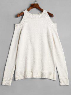 Plain Cold Shoulder Pullover Sweater - Off-white L