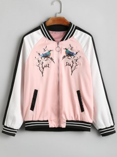 Gestickte Patch Gestreifte Zip Up Bomberjacke - Pink