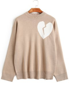 Drop Shoulder Heartbreak Graphic Sweater - Light Camel