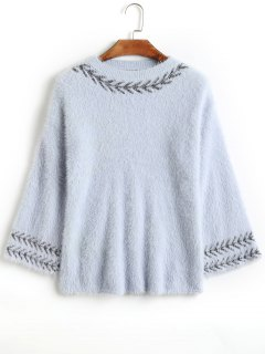 Back Slit Graphic Mohair Sweater - Blue Gray