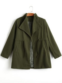 Cintura Con Cordón Turn Down Collar Coat - Verde Del Ejército M