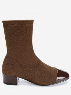 Artificial Leather Panel Chunky Heel Sock Boots - Brown 36